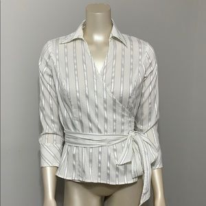 Ann Taylor Loft striped wrap blouse